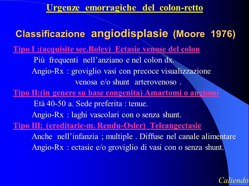 Classificazione angiodisplasie (Moore 1976) Tipo I :(acquisite sec.Boley) Ectasie venose del colon Più frequenti nellanziano e nel colon dx.