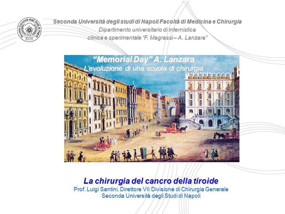 La chirurgia del cancro della tiroide Prof. Luigi Santini, Direttore VII Divisione di Chirurgia Generale Seconda Università degli Studi di Napoli Seco