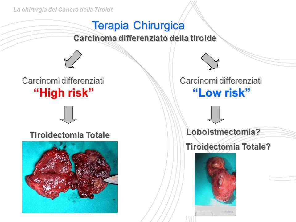 Tiroidectomia Totale Carcinomi differenziati High risk Tiroidectomia Totale? Loboistmectomia? Carcinomi differenziati Low risk La chirurgia del Cancro