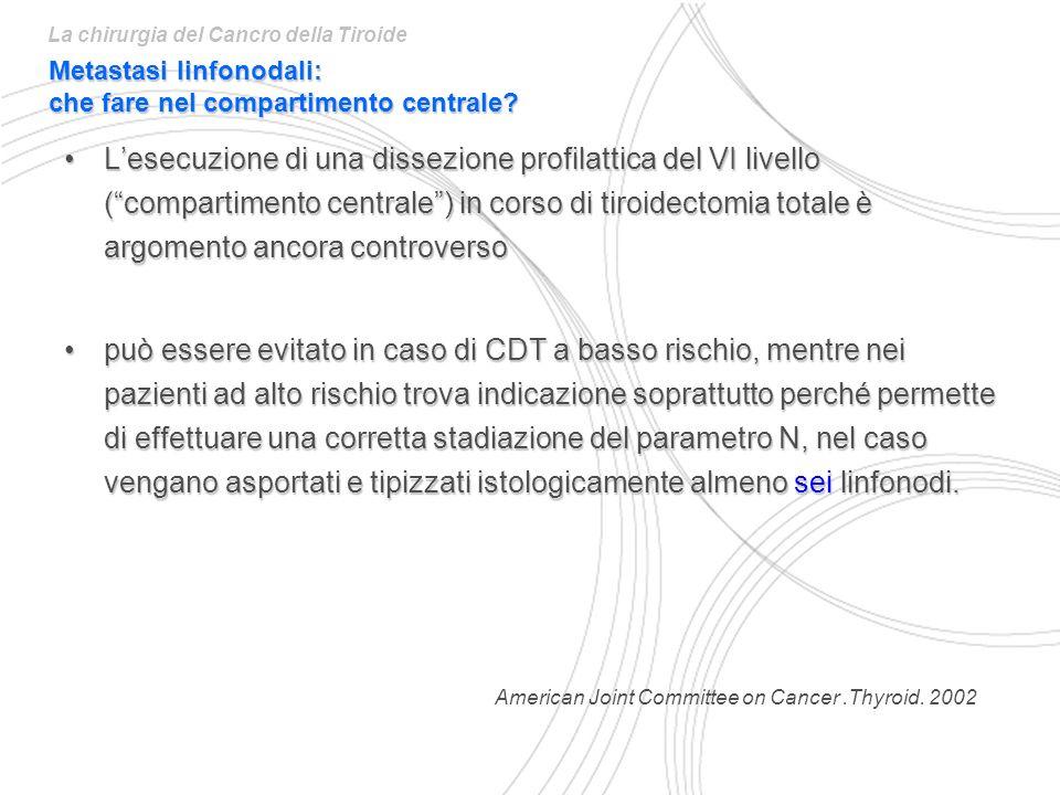 Lesecuzione di una dissezione profilattica del VI livello (compartimento centrale) in corso di tiroidectomia totale è argomento ancora controversoLese