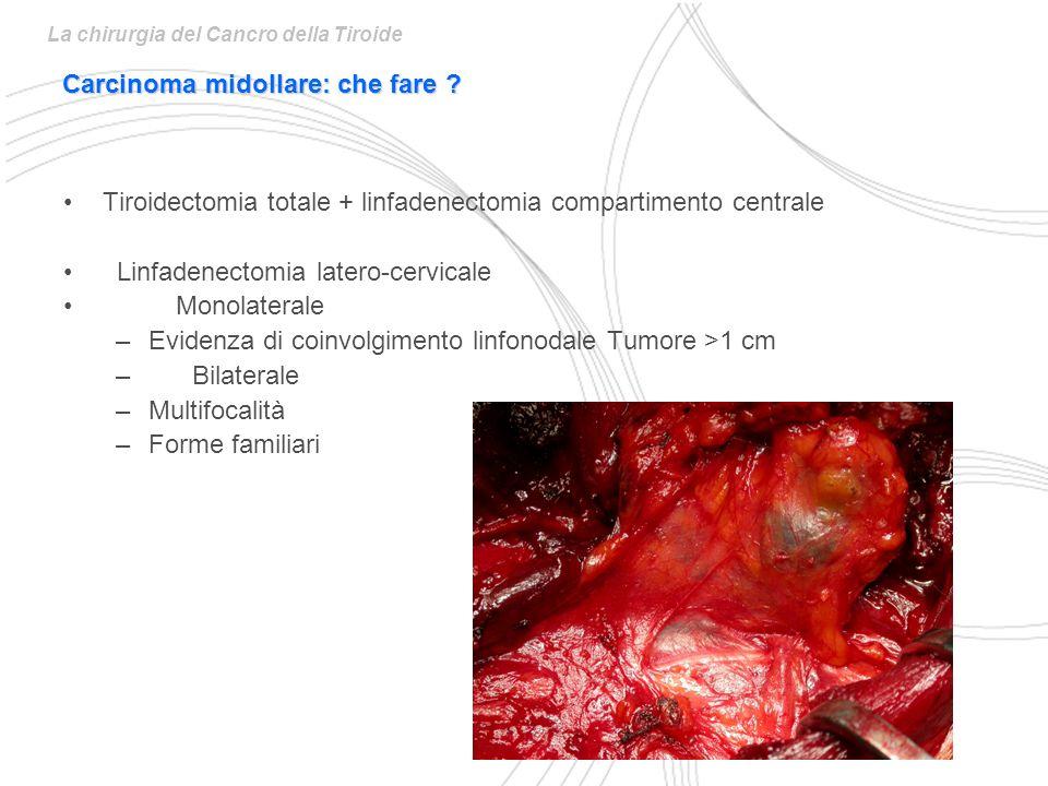 Tiroidectomia totale + linfadenectomia compartimento centrale Linfadenectomia latero-cervicale Monolaterale –Evidenza di coinvolgimento linfonodale Tumore >1 cm – Bilaterale –Multifocalità –Forme familiari Carcinoma midollare: che fare ?