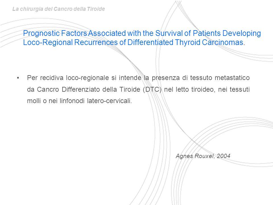 Per recidiva loco-regionale si intende la presenza di tessuto metastatico da Cancro Differenziato della Tiroide (DTC) nel letto tiroideo, nei tessuti molli o nei linfonodi latero-cervicali.