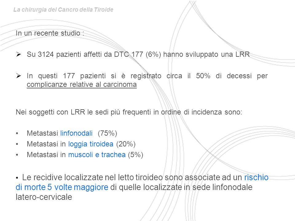 In un recente studio : Su 3124 pazienti affetti da DTC 177 (6%) hanno sviluppato una LRR In questi 177 pazienti si è registrato circa il 50% di decessi per complicanze relative al carcinoma La chirurgia del Cancro della Tiroide Nei soggetti con LRR le sedi più frequenti in ordine di incidenza sono: Metastasi linfonodali (75%) Metastasi in loggia tiroidea (20%) Metastasi in muscoli e trachea (5%) Le recidive localizzate nel letto tiroideo sono associate ad un rischio di morte 5 volte maggiore di quelle localizzate in sede linfonodale latero-cervicale