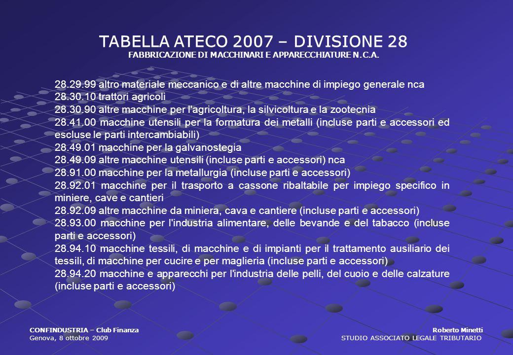 TABELLA ATECO 2007 – DIVISIONE 28 FABBRICAZIONE DI MACCHINARI E APPARECCHIATURE N.C.A. CONFINDUSTRIA – Club Finanza Roberto Minetti Genova, 8 ottobre