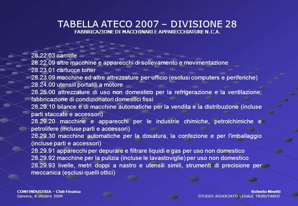 TABELLA ATECO 2007 – DIVISIONE 28 FABBRICAZIONE DI MACCHINARI E APPARECCHIATURE N.C.A. 28.22.03 carriole 28.22.09 altre macchine e apparecchi di solle