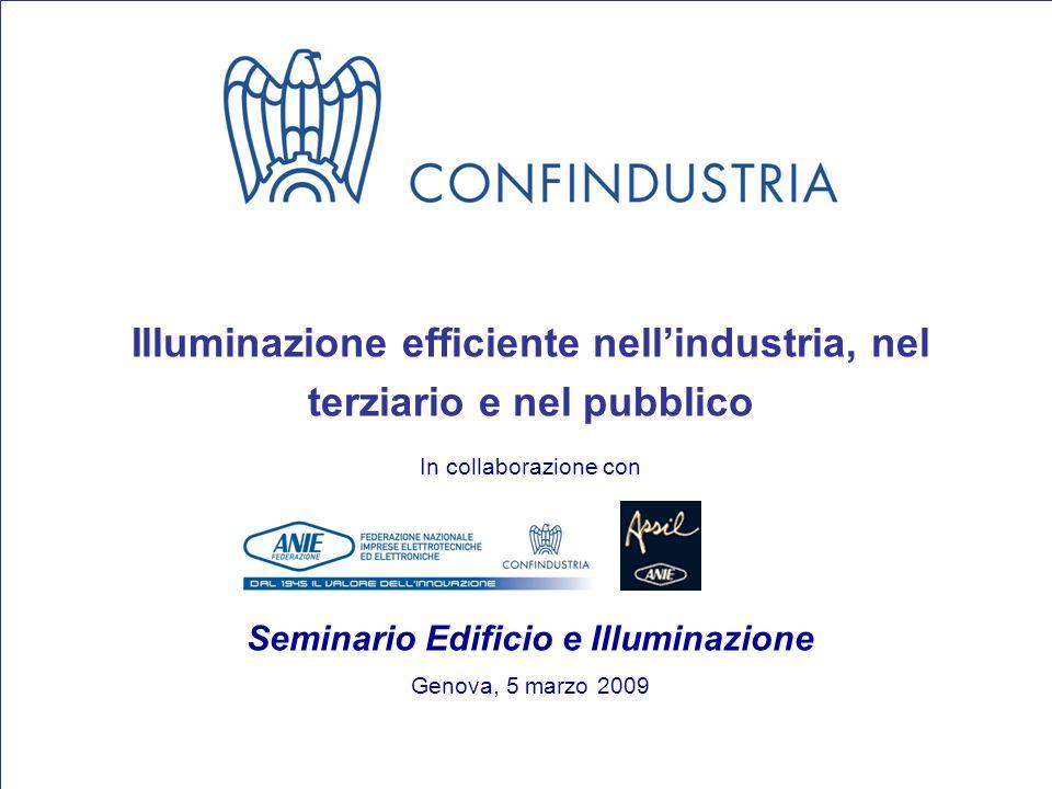 1 Illuminazione efficiente nellindustria, nel terziario e nel pubblico In collaborazione con Seminario Edificio e Illuminazione Genova, 5 marzo 2009