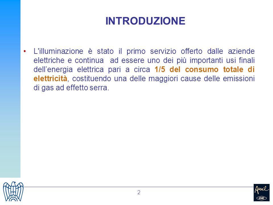2 INTRODUZIONE L'illuminazione è stato il primo servizio offerto dalle aziende elettriche e continua ad essere uno dei più importanti usi finali delle