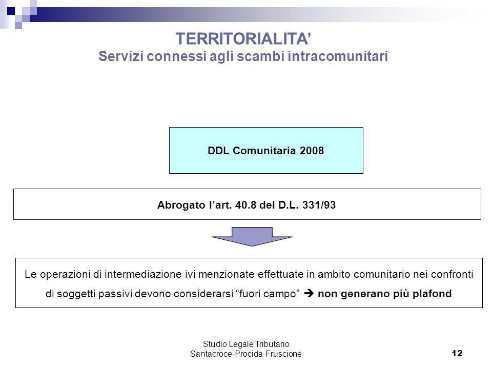 Studio Legale Tributario Santacroce-Procida-Fruscione 12 TERRITORIALITA Servizi connessi agli scambi intracomunitari DDL Comunitaria 2008 Abrogato lar