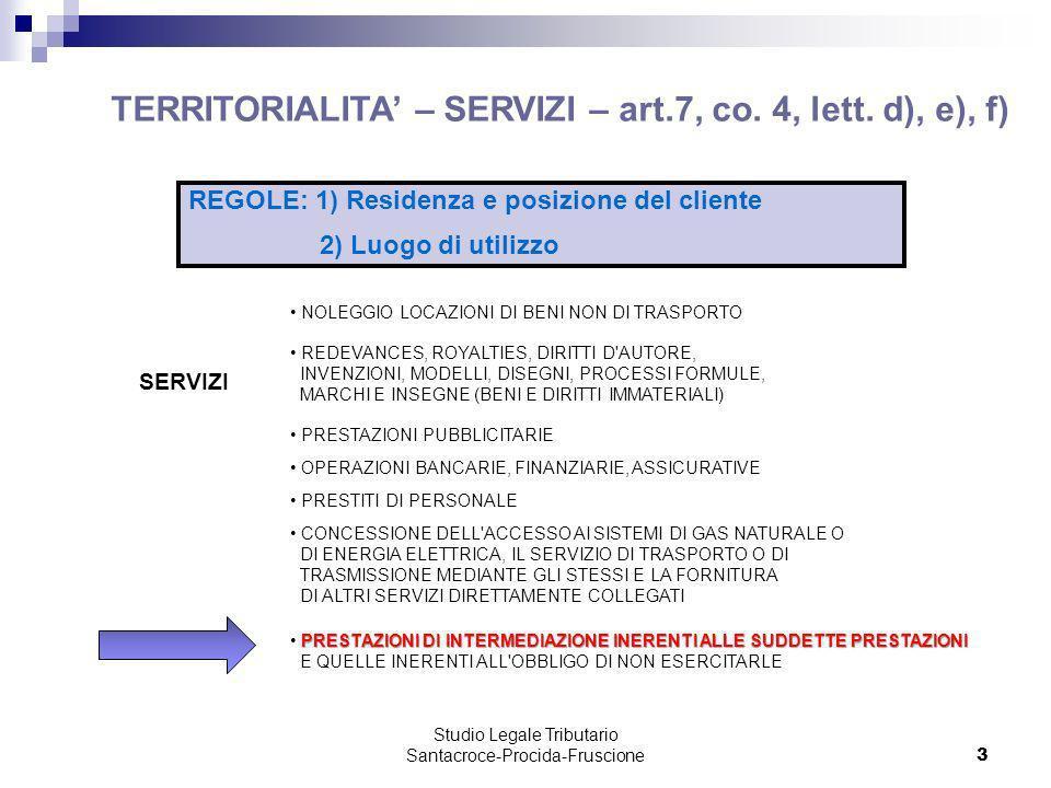 Studio Legale Tributario Santacroce-Procida-Fruscione 3 TERRITORIALITA – SERVIZI – art.7, co. 4, lett. d), e), f) SERVIZI NOLEGGIO LOCAZIONI DI BENI N