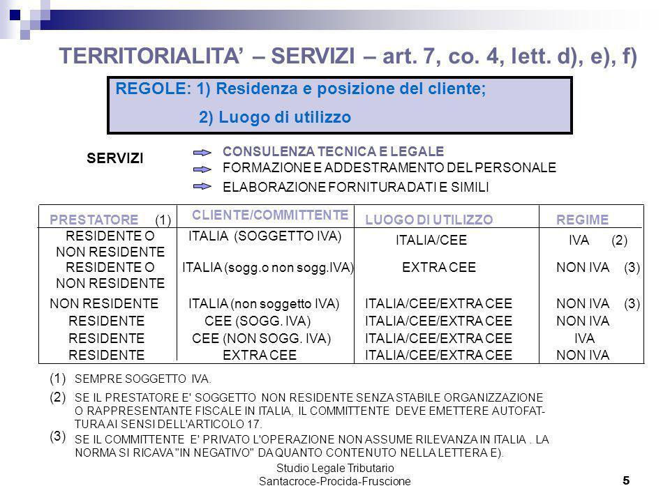 Studio Legale Tributario Santacroce-Procida-Fruscione 5 PRESTATORELUOGO DI UTILIZZOREGIME RESIDENTE O NON RESIDENTE RESIDENTE ITALIA (SOGGETTO IVA) CE