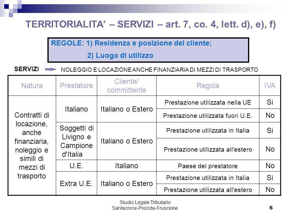 Studio Legale Tributario Santacroce-Procida-Fruscione 7 TERRITORIALITA QUALIFICAZIONE DELLE OPERAZIONI Risoluzione 178/E/2008 Le prestazioni di cui dellarticolo 7, comma 4, lett.