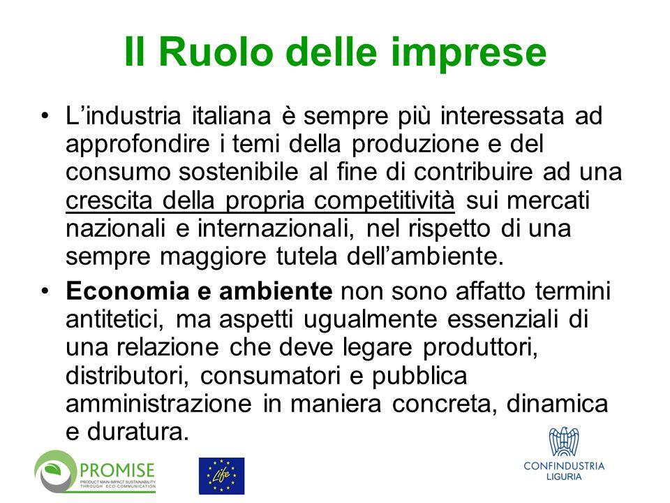 Il Ruolo delle imprese Lindustria italiana è sempre più interessata ad approfondire i temi della produzione e del consumo sostenibile al fine di contribuire ad una crescita della propria competitività sui mercati nazionali e internazionali, nel rispetto di una sempre maggiore tutela dellambiente.