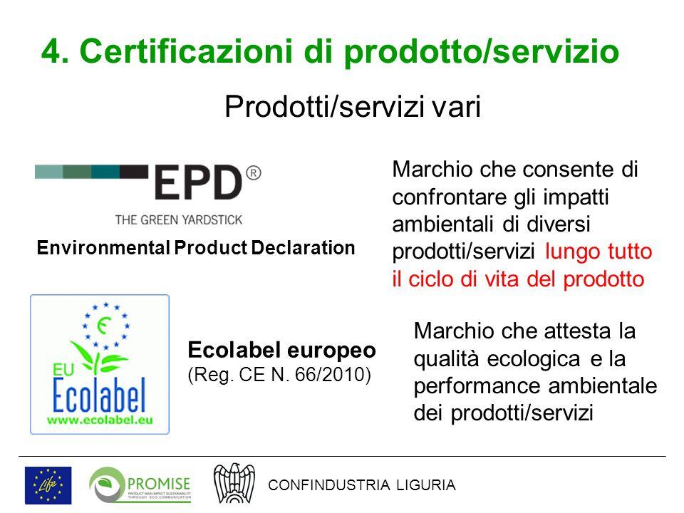 4. Certificazioni di prodotto/servizio Prodotti/servizi vari Environmental Product Declaration Marchio che consente di confrontare gli impatti ambient