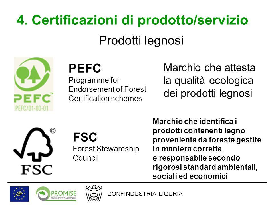 4. Certificazioni di prodotto/servizio Prodotti legnosi PEFC Programme for Endorsement of Forest Certification schemes Marchio che attesta la qualità