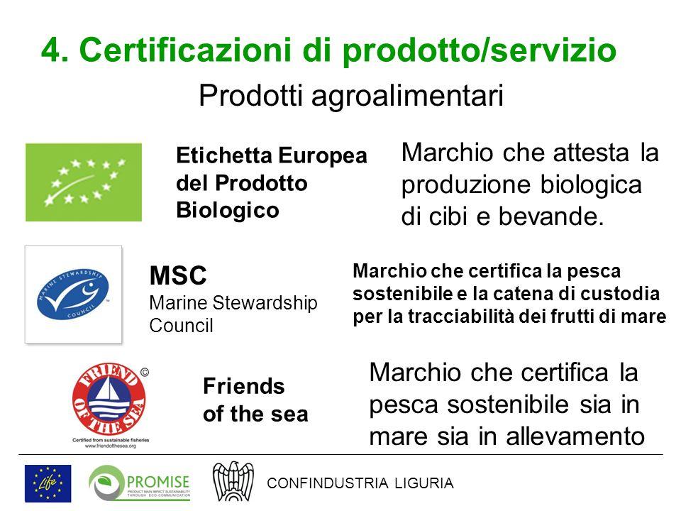 4. Certificazioni di prodotto/servizio Prodotti agroalimentari Etichetta Europea del Prodotto Biologico Marchio che attesta la produzione biologica di