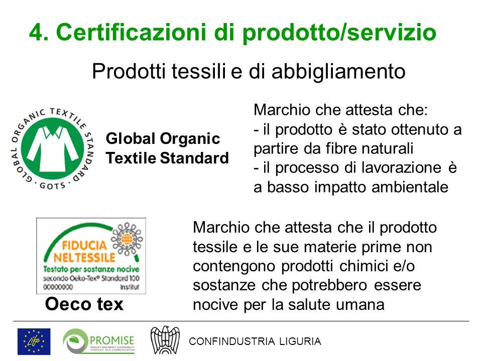 4. Certificazioni di prodotto/servizio Prodotti tessili e di abbigliamento Global Organic Textile Standard Marchio che attesta che: - il prodotto è st