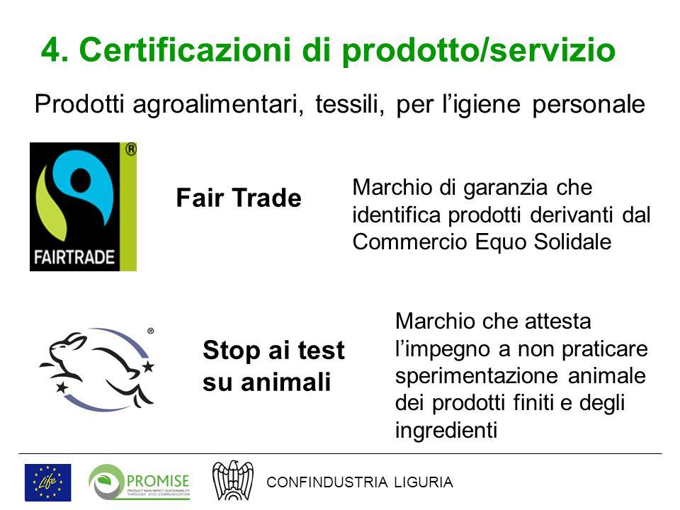 4. Certificazioni di prodotto/servizio Prodotti agroalimentari, tessili, per ligiene personale Fair Trade Marchio di garanzia che identifica prodotti