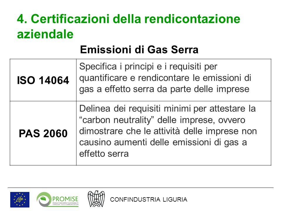 4. Certificazioni della rendicontazione aziendale ISO 14064 Specifica i principi e i requisiti per quantificare e rendicontare le emissioni di gas a e