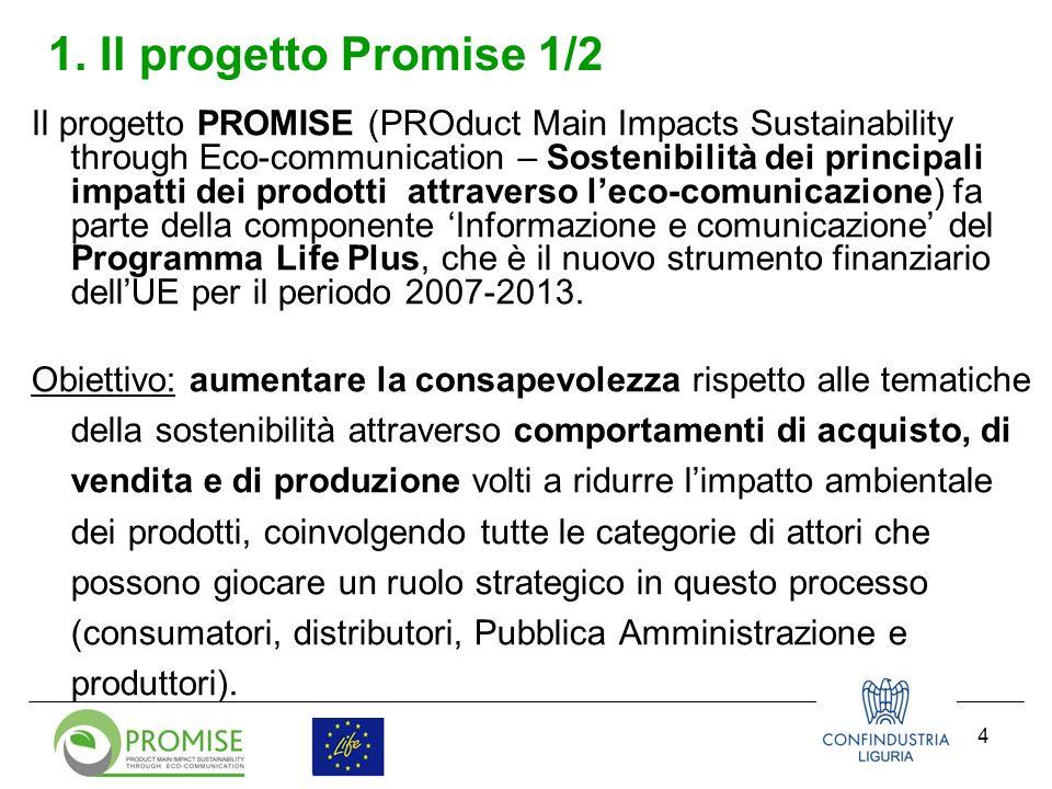 4 1. Il progetto Promise 1/2 Il progetto PROMISE (PROduct Main Impacts Sustainability through Eco-communication – Sostenibilità dei principali impatti