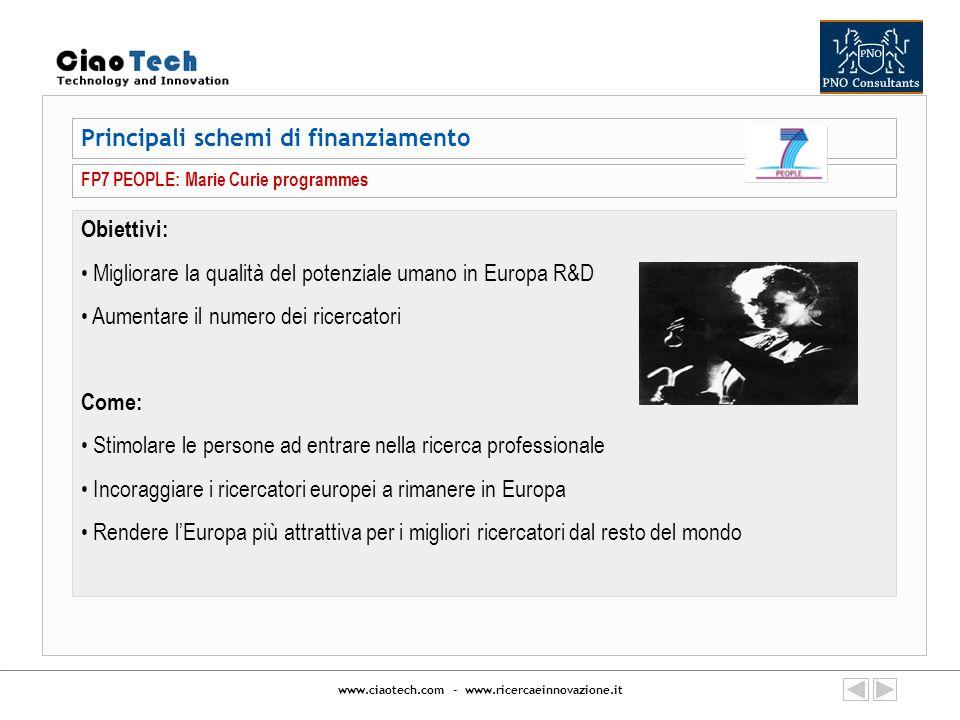 www.ciaotech.com - www.ricercaeinnovazione.it Principali schemi di finanziamento FP7 PEOPLE: Marie Curie programmes Obiettivi: Migliorare la qualità d