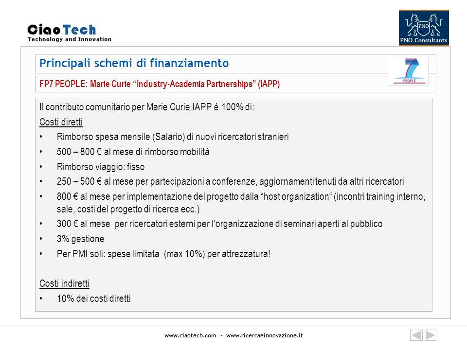 www.ciaotech.com - www.ricercaeinnovazione.it Il contributo comunitario per Marie Curie IAPP è 100% di: Costi diretti Rimborso spesa mensile (Salario)
