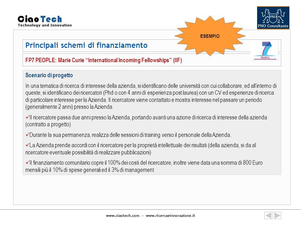 www.ciaotech.com - www.ricercaeinnovazione.it Principali schemi di finanziamento FP7 PEOPLE: Marie Curie International Incoming Fellowships (IIF) Scen