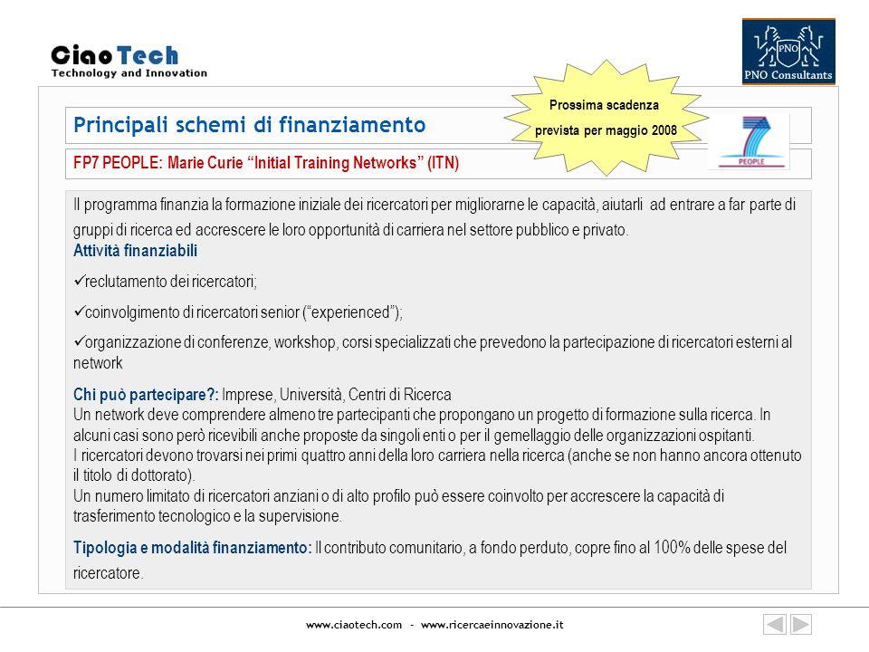 www.ciaotech.com - www.ricercaeinnovazione.it Principali schemi di finanziamento FP7 PEOPLE: Marie Curie Initial Training Networks (ITN) Il programma