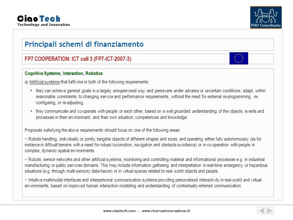 www.ciaotech.com - www.ricercaeinnovazione.it Principali schemi di finanziamento FP7 COOPERATION: ICT call 3 (FP7-ICT-2007-3) Cognitive Systems, Inter