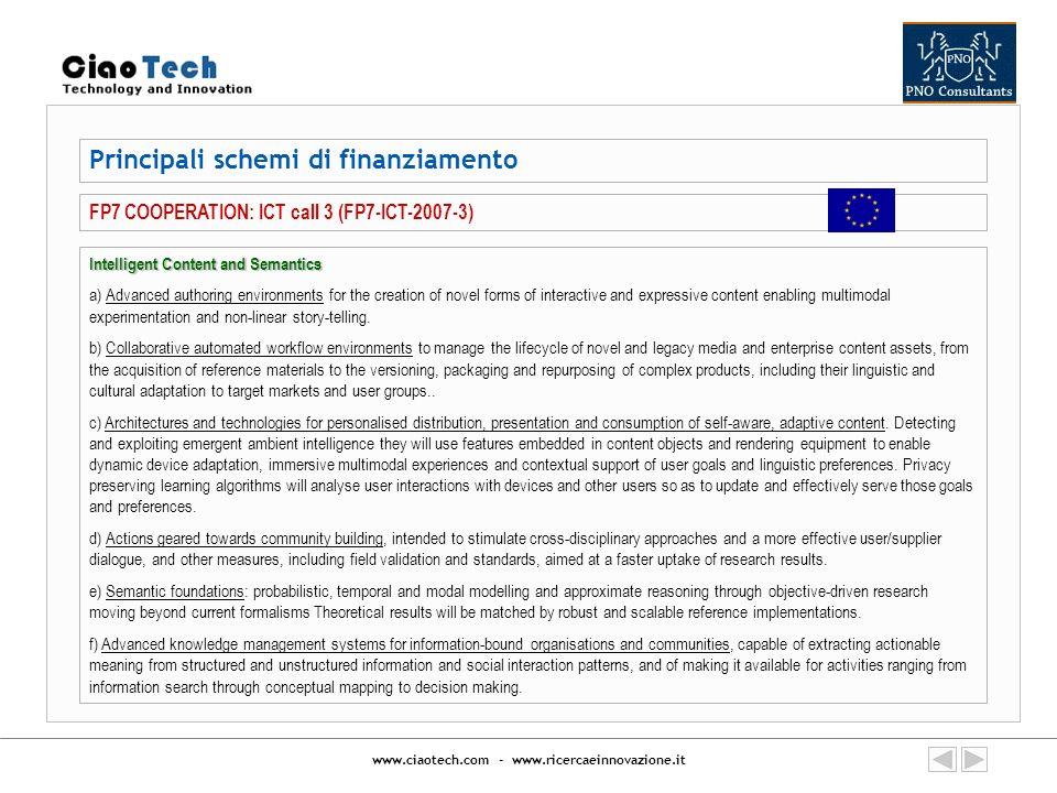 www.ciaotech.com - www.ricercaeinnovazione.it Principali schemi di finanziamento FP7 COOPERATION: ICT call 3 (FP7-ICT-2007-3) Intelligent Content and
