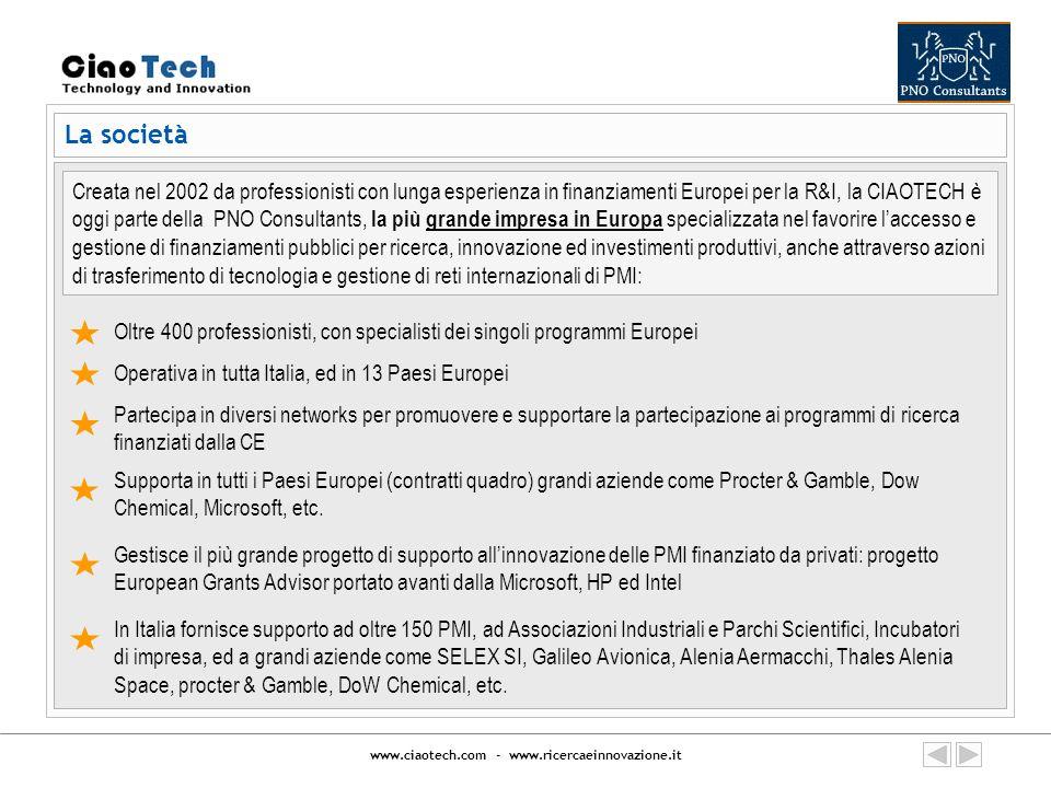 www.ciaotech.com - www.ricercaeinnovazione.it Supporto strutturato per aumentare opportunità di accedere a programmi di finanziamento pubblici Attività di supporto per progetti Europei 1/2 Informativa mensile su tutte le opportunità di finanziamento disponibili per progetti di ricerca e sviluppo.