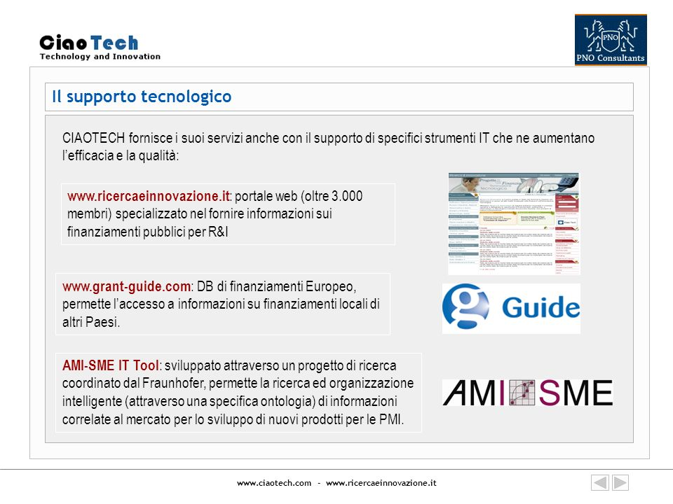 www.ciaotech.com - www.ricercaeinnovazione.it Network internazionali di cui facciamo parte Technology transfer and support action in the e-Health sector, funded by the IST programme, mentioned in the VII FP ICT work-programme as starting point for R&D actions between Europe and LAM ( www.ithealth.org ) Support action aimed at favoring the presentation of R&D project (by SMEs, Large enterprises and RTD centers) in the security sector under FPVII and National/Regional grants ( www.secure-force.eu ) Azione di supporto per favorire la presentazione di progetti di R&S (da PMI, grandi imprese e centri di ricerca) nel settore Aeronautica del 7PQ