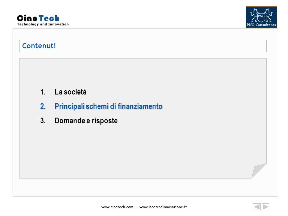 www.ciaotech.com - www.ricercaeinnovazione.it Principali schemi di finanziamento Indicative Budget: EUR 80.42 million FP7 COOPERATION: AERONAUTICS and AIR TRANSPORT (FP7- AAT- 2008- RTD-1) Deadline: 7 Maggio 2008