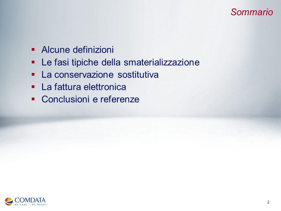 2 Alcune definizioni Le fasi tipiche della smaterializzazione La conservazione sostitutiva La fattura elettronica Conclusioni e referenze Sommario