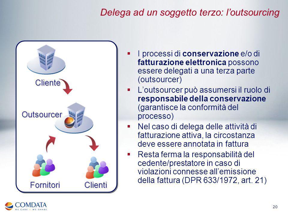 20 Delega ad un soggetto terzo: loutsourcing I processi di conservazione e/o di fatturazione elettronica possono essere delegati a una terza parte (ou