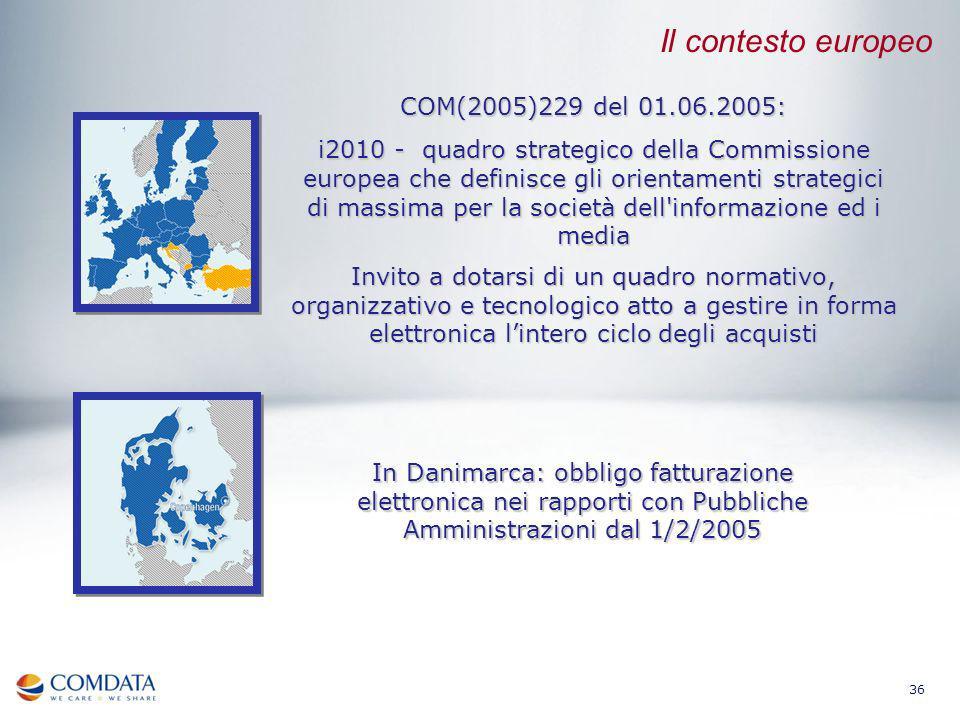 36 COM(2005)229 del 01.06.2005: i2010 - quadro strategico della Commissione europea che definisce gli orientamenti strategici di massima per la societ