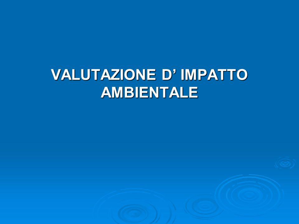 VALUTAZIONE D IMPATTO AMBIENTALE