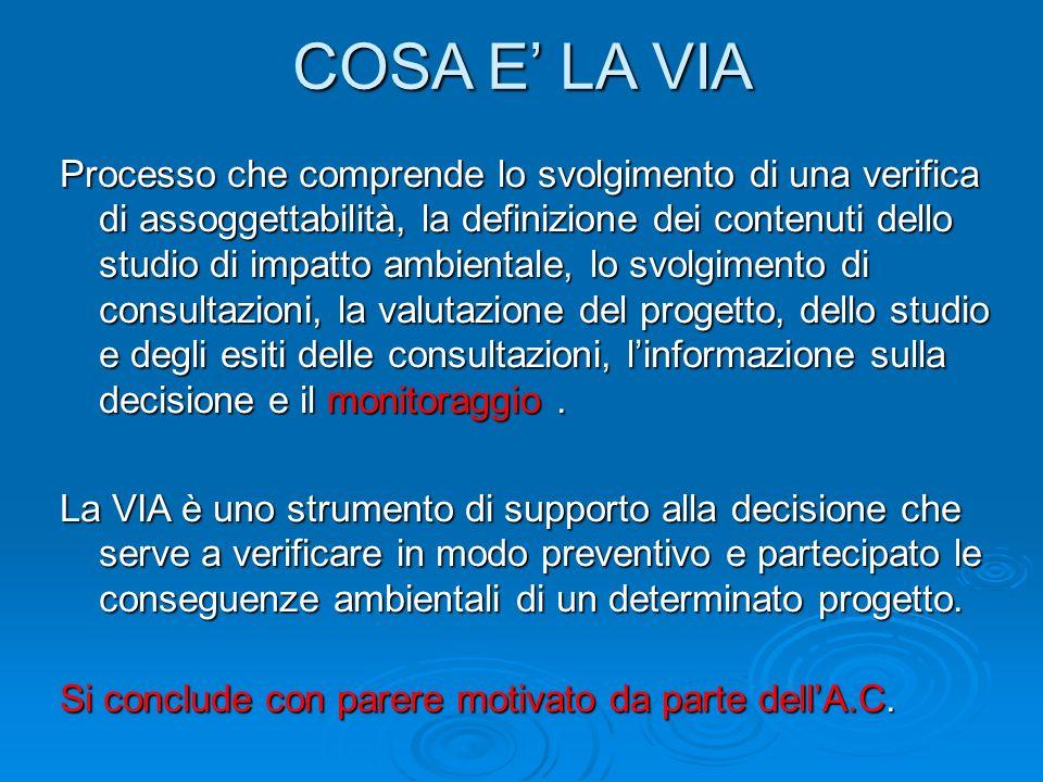 COSA E LA VIA Processo che comprende lo svolgimento di una verifica di assoggettabilità, la definizione dei contenuti dello studio di impatto ambientale, lo svolgimento di consultazioni, la valutazione del progetto, dello studio e degli esiti delle consultazioni, linformazione sulla decisione e il monitoraggio.