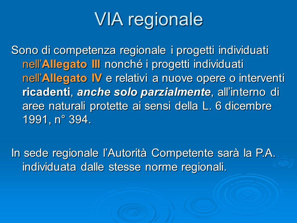 VIA regionale Sono di competenza regionale i progetti individuati nellAllegato III nonché i progetti individuati nellAllegato IV e relativi a nuove opere o interventi ricadenti, anche solo parzialmente, allinterno di aree naturali protette ai sensi della L.