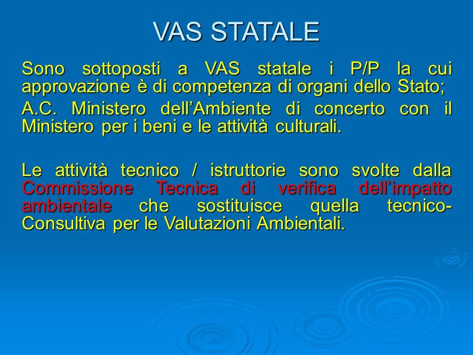 VAS STATALE Sono sottoposti a VAS statale i P/P la cui approvazione è di competenza di organi dello Stato; A.C.