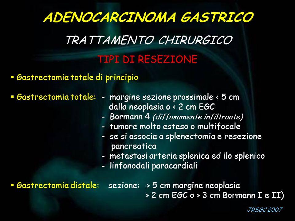 TIPI DI RESEZIONE Gastrectomia totale di principio Gastrectomia totale: - margine sezione prossimale < 5 cm dalla neoplasia o < 2 cm EGC - Bormann 4 (