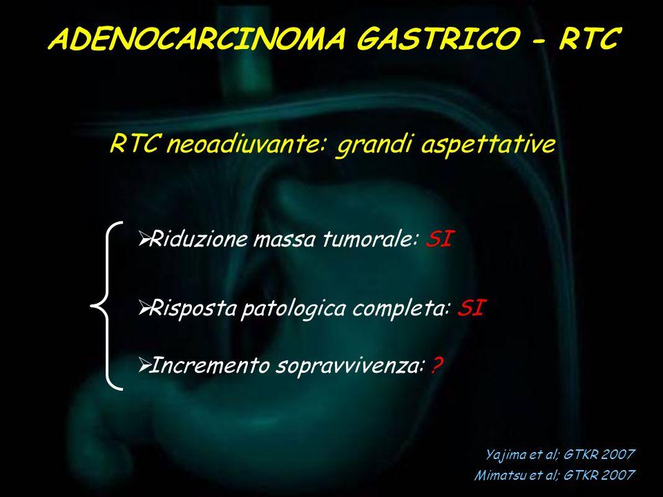 RTC neoadiuvante: grandi aspettative Riduzione massa tumorale: SI Risposta patologica completa: SI Incremento sopravvivenza: ? Yajima et al; GTKR 2007