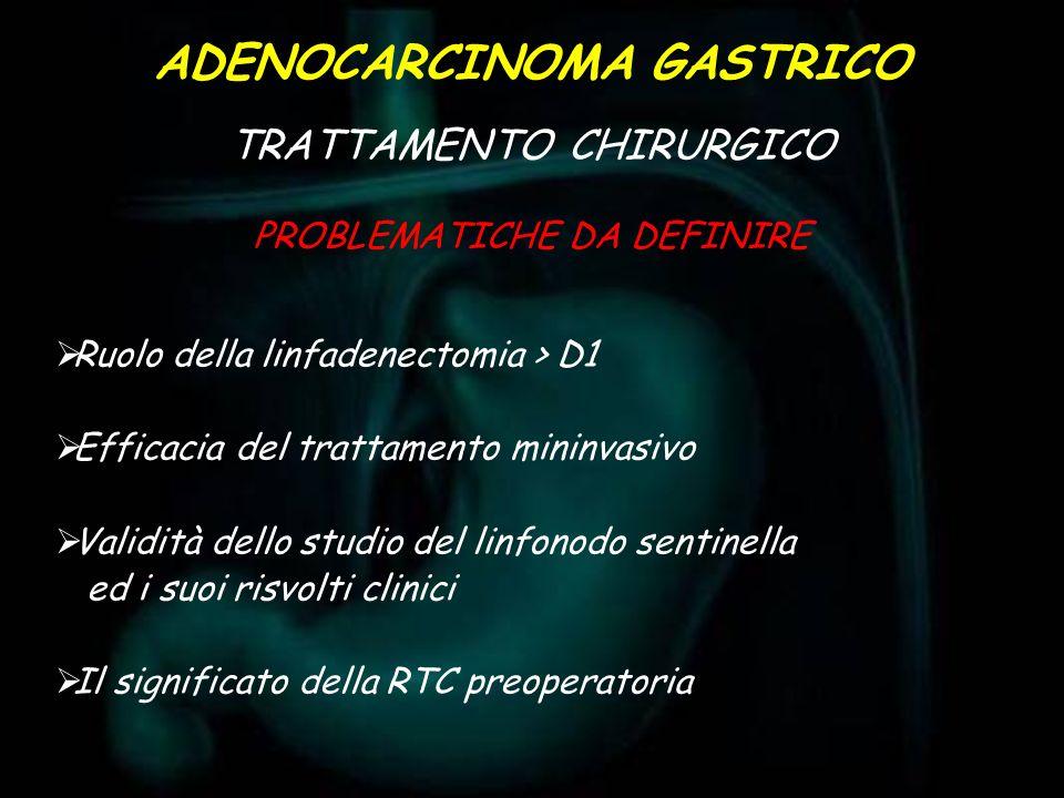 Ruolo della linfadenectomia > D1 Efficacia del trattamento mininvasivo Validità dello studio del linfonodo sentinella ed i suoi risvolti clinici Il si