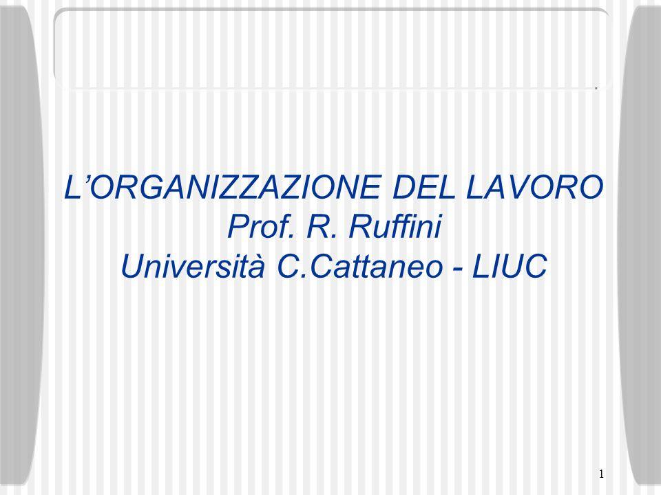 1 LORGANIZZAZIONE DEL LAVORO Prof. R. Ruffini Università C.Cattaneo - LIUC