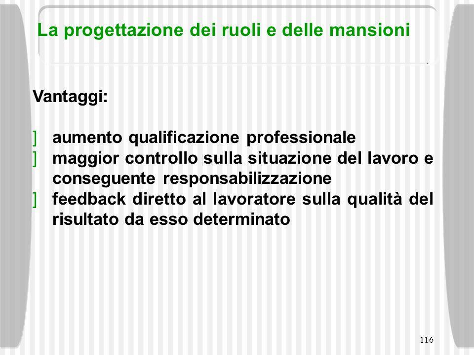 116 Vantaggi: aumento qualificazione professionale maggior controllo sulla situazione del lavoro e conseguente responsabilizzazione feedback diretto a