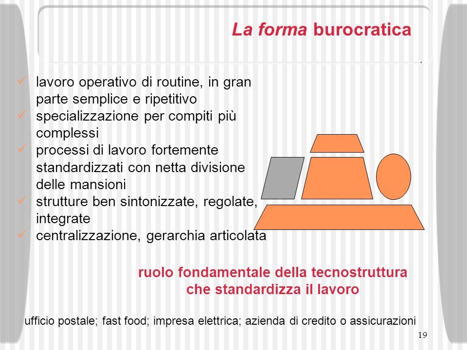 19 La forma burocratica lavoro operativo di routine, in gran parte semplice e ripetitivo specializzazione per compiti più complessi processi di lavoro
