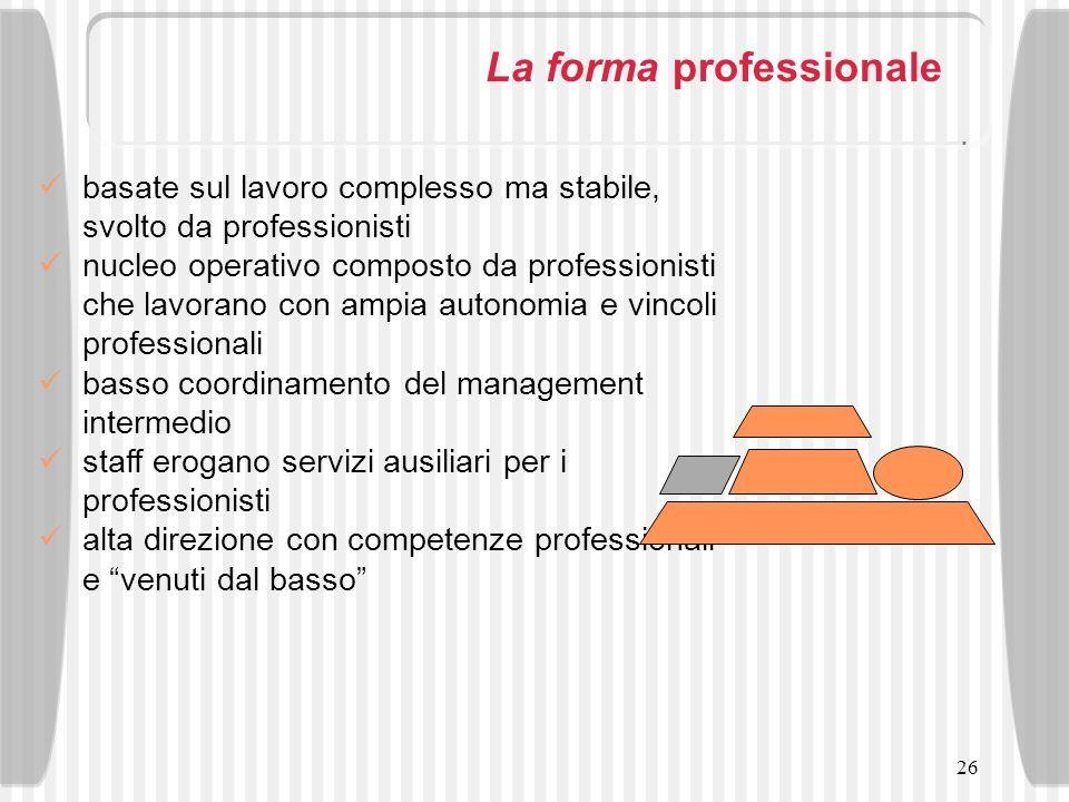 26 La forma professionale basate sul lavoro complesso ma stabile, svolto da professionisti nucleo operativo composto da professionisti che lavorano co