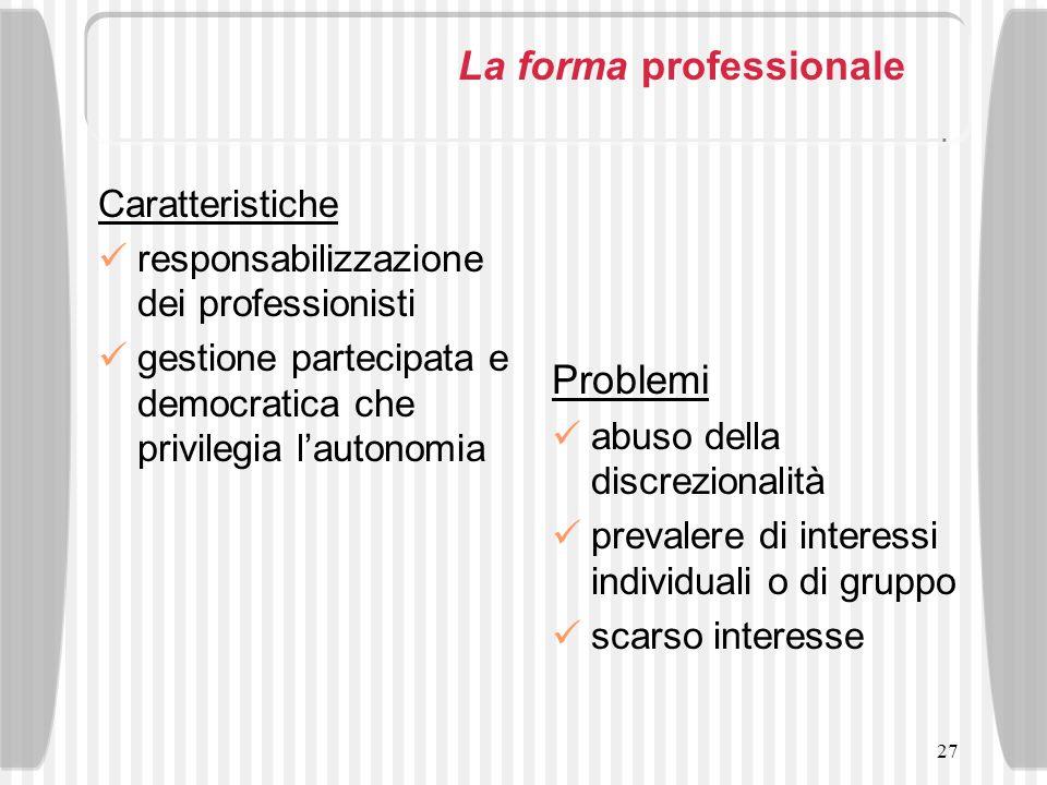 27 La forma professionale Caratteristiche responsabilizzazione dei professionisti gestione partecipata e democratica che privilegia lautonomia Problem