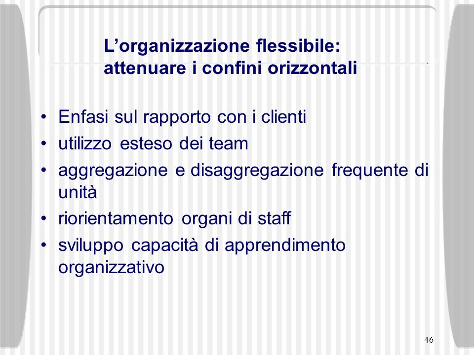 46 Enfasi sul rapporto con i clienti utilizzo esteso dei team aggregazione e disaggregazione frequente di unità riorientamento organi di staff svilupp