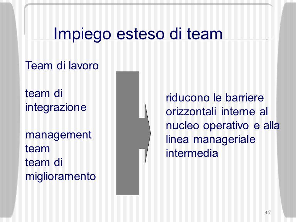 47 riducono le barriere orizzontali interne al nucleo operativo e alla linea manageriale intermedia Team di lavoro team di integrazione management tea