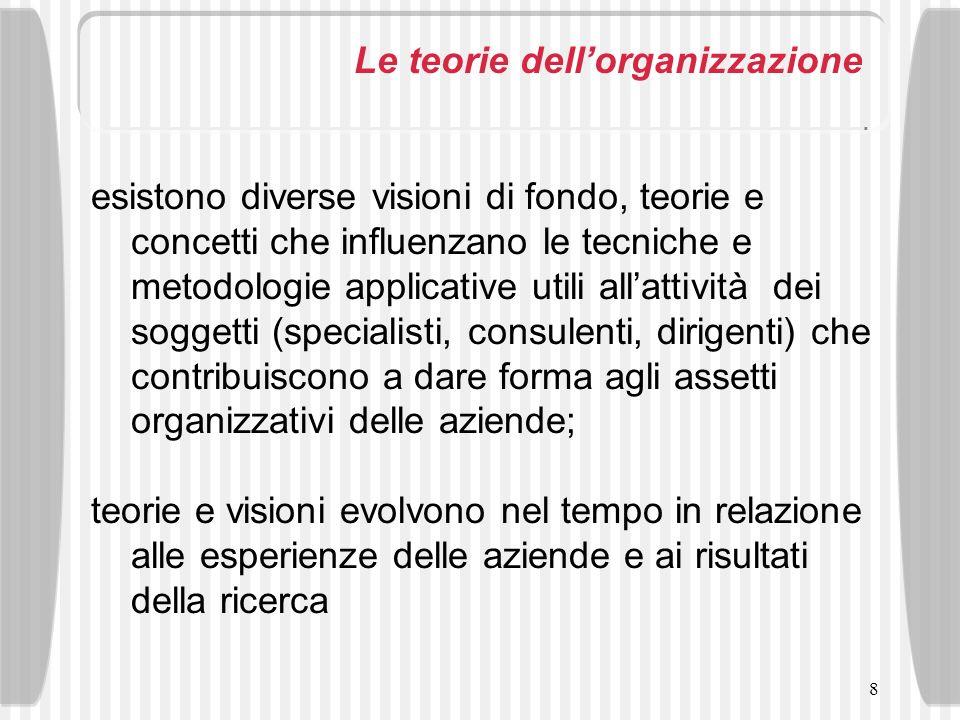 8 Le teorie dellorganizzazione esistono diverse visioni di fondo, teorie e concetti che influenzano le tecniche e metodologie applicative utili allatt